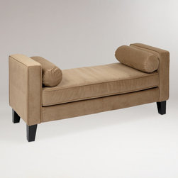 World Market - Coffee Velvet Taylor Bench with Bolsters - Our expertly crafted Coffee Velvet Taylor Bench with Bolsters is a thrilling alternative to the common sofa. Covered in plush tan velvet with matching bolster pillows, this contemporary and cozy bench transforms any room into a chic, modern space. Plus, it features espresso-finished legs and a durable box-spring seat for added style and comfort.
