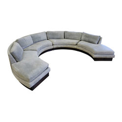 ecofirstart - Circular Curved Sectional Sofa - Nothing brings relaxation and warmth to a room better than classic design. This sectional boasts a circular style and exudes an aura of convivial leisure, sure to welcome and impress your guests. Crafted of sustainable wood and organic materials, you have many enjoyable years to come co-mingling on this curvaceous couch.