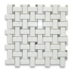 "Stone Center Corp - Thassos White Marble Basketweave Mosaic Tile Green Dots 1x2 Polished - Thassos white marble 1"" x 2"" rectangle pieces and Ming Green 3/8"" dots mounted on 12"" x 12"" sturdy mesh tile sheet"
