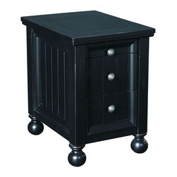 "Hammary - Hidden Treasures Chairside Table -Black - Hammary's Hidden Treasures collection is a fine assortment of unique accent pieces inspired by some of the greatest designs the world over. Each selection is rich in Old World icons and traditions. Every piece in this collection is crafted with the upmost attention to fine details. Each item is a work of art from brass nailhead trim and exquisite hand-painting to elegant shaping and decorative trim. Wide varieties of materials are used to create a perfect look and fine quality which includes exotic woods, leather, and stone to raffia and glass. The wide variety of finishes, hardware, beautiful carvings and other final touches offer unmatched versatility for any room in your home. Hidden Treasures features cocktail tables, occasional and accent pieces, trunks, chests, consoles, wine racks, desks, entertainment units and interesting storage pieces. Place one in a comfortable reading nook. . . in the family room for flair and variety. . . in the foyer for a welcome look. . . in a bedroom for a cozy style. . . or in the office for function and versatility. The pieces in this collection mix beautifully with any decorating style and will easily become the focal point in any setting.; Hidden Treasures Collection; Finish:; Pull-Out Tray with Black Laminate Cup Holders and Remote Control Slot; 2 Drawers; Finished Back; Weight: 42 lbs.; Dimensions: 16""W x 22""D x 23""H"