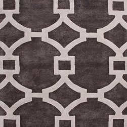Jaipur Rugs - Hand-Tufted Geometric Pattern Wool/ Art Silk Gray/Ivory Area Rug ( 2.6x8 ) - Over scaled sharp geometrics characterize this striking contemporary range of  hand tufted rugs. The high/low construction in wool and art silk creates texture and surface interest and gives a look of matt and shine.