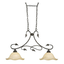Vaxcel Lighting - Vaxcel Lighting Vine Traditional Kitchen Island Light X-LO43883DP - This Vaxcel Lighting Vine traditional kitchen island light is truly an aesthetically pleasing fixture. It features gently curved that are reminiscent of vines and given a rich, oil shale finish. The frame support two beautiful, scalloped glass shades. It's an elegant piece that's sure to provide you with ample lighting so you can work efficiently in the kitchen.