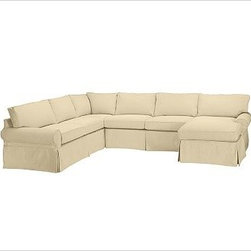 """PB Basic Left 4-Piece Chaise Sectional Slipcover, Brushed Canvas Honey - Designed exclusively for our PB Basic Sectional, these easy-care slipcovers have a casual drape, retain their smooth fit, and remove easily for cleaning. Select """"Living Room"""" in our {{link path='http://potterybarn.icovia.com/icovia.aspx' class='popup' width='900' height='700'}}Room Planner{{/link}} to select a configuration that's ideal for your space. This item can also be customized with your choice of over {{link path='pages/popups/fab_leather_popup.html' class='popup' width='720' height='800'}}80 custom fabrics and colors{{/link}}. For details and pricing on custom fabrics, please call us at 1.800.840.3658 or click Live Help. All slipcover fabrics are hand selected for softness, quality and durability. {{link path='pages/popups/sectionalsheet.html' class='popup' width='720' height='800'}}Left-arm or right-arm configuration{{/link}} is determined by the location of the arm on the love seat as you face the piece. This is a special-order item and ships directly from the manufacturer. To view our order and return policy, click on the Shipping Info tab above."""