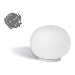 Flos Mini Glo-Ball T Table Lamp by Jasper Morrison - MINI GLO-BALL T by FLOS, designed by Jasper Morrison and available from Stardust Modern Design.  A petite but beautiful little table lamp to dress up a side table or for use as as a bedside table light. http://www.stardust.com/mini-glo-ball-t.html