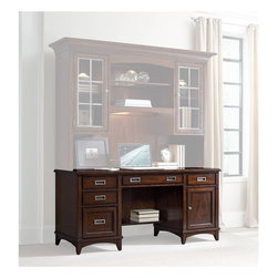 "Hooker Furniture - Latitude Computer Credenza - White glove, in-home delivery included!  Furniture assembly included!  The luxurious Latitude collection is crafted using hardwood solids and walnut veneers.  FC620 power bar with two electrical outlets, phone jack, high speed data ports and USB upstream and downstream.  Also offers one electrical outlet and matching data, phone and USB port on the bottom.  Center drawer with drop-front for keyboard use, two utiility drawers with one removable writng insert and pencil tray for use in either drawer.  Three slots and two removable dividers in each drawer.  One utility drawer with three slots and removable dividers.  One locking file drawer with pendaflex letter/legal filing system.  One double hinged break away door with one adjustable shelf and one pullout printer tray behind.  Keyboard space: 26 1/8"" w x 13 5/8"" d x 2 3/8"" h  Knee space: 28"" w x 22 5/8"" d x 24 1/4"" h  Printer space: 14 1/2"" w x 18 9/16"" d x 16"" h"