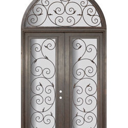 "Orvieto 72x96 Wrought Iron Steel Double Door and Half Round Transom - ""SKU#    PHBFODHRR4Brand    GlassCraftDoor Type    ExteriorManufacturer Collection    Buffalo Forge Steel DoorsDoor Model    OrvietoDoor Material    SteelWoodgrain    Veneer    Price    12250Door Size Options      $Core Type    one-piece roll-formed 14 gauge steel doors are foam filled  Door Style    TraditionalDoor Lite Style    Full LiteDoor Panel Style    Home Style Matching    Mediterranean , Victorian , Bay and Gable , Plantation , Cape Cod , Gulf Coast , ColonialDoor Construction    Prehanging Options    PrehungPrehung Configuration    Double Door and Half Round TransomDoor Thickness (Inches)    1.5Glass Thickness (Inches)    Glass Type    Double GlazedGlass Caming    Glass Features    Insulated , TemperedGlass Style    Glass Texture    Clear , Glue Chip , RainGlass Obscurity    Door Features    Door Approvals    Wind-load RatedDoor Finishes    Three coat painting process"