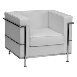Flash Furniture - Flash Furniture Hercules Regal Series Contemporary White Leather Chair - This attractive white leather reception chair will complete your upscale reception area. The design of this chair allows it to adapt in a multitude of environments with its smooth upholstered cushions and visible accent stainless steel frame.