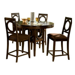 Standard Furniture - Standard Furniture Coterno 6-Piece Counter Height Dining Room Set - The circle shape design on chair backs, table base, and door of server make a perfect focal point for entire suite. Quality veneers over wood products and select solids used throughout. Group may contain some plastic parts.