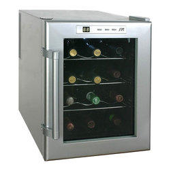 Sunpentown - Thermo-Electric Wine Cooler, 12-Bottle - Need a special gift for a milestone birthday or a holiday? This Thermo-Electric wine cooler is sure to impress! Featuring a capacity of eight standard wine bottles, a simple-to-use digital display, double-paned glass and a smooth, quiet operation. If you're tight on space, you'll love the slim, modern design. Now the only thing left on the list is to buy the wine.