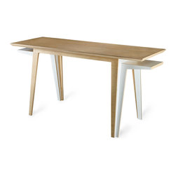 brave space design - Delta Desk Maple, Maple with White Legs - Designed to utilize space beneath the main work area, the Delta Desk features winged shelves that allow you to store peripherals that would otherwise clutter valuable work space. Made from Certified Maple as well as Walnut or Natural and Amber Bamboo combination. All surfaces are treated with a durable Non-Toxic Water Based Finish.