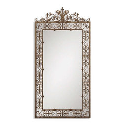 Home Decorators Collection - Varese Wall Mirror - The Varese Wall Mirror features a hand-forged metal frame in a distressed, rustic brown finish with aged black undertones. This oversized wall mirror is made for adding depth to any empty wall, from above a console table to a fireplace mantel. Rustic brown finish completes the look. Wipe clean.