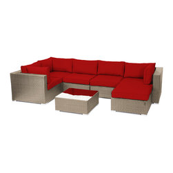 "Reef Rattan - Reef Rattan London 7 Pc Sectional Sofa Set - Natural Rattan / Red Cushions - Reef Rattan London 7 Pc Sectional Sofa Set - Natural Rattan / Red Cushions. This patio set is made from all-weather resin wicker and produced to fulfill your needs for high quality. The resin wicker in this patio set won't fade, shrink, lose its strength, or snap. UV resistant and water resistant, this patio set is durable and easy to maintain. A rust-free powder-coated aluminum frame provides strength to withstand years of use. Sunbrella fabrics on patio furniture lends you the sophistication of a five star hotel, right in your outdoor living space, featuring industry leading Sunbrella fabrics. Designed to reflect that ultra-chic look, and with superior resistance to the elements in a variety of climates, the series stands for comfort, class, and constancy. Recreating the poolside high end feel of an upmarket hotel for outdoor living in a residence or commercial space is easy with this patio furniture. After all, you want a set of patio furniture that's going to look great, and do so for the long-term. The canvas-like fabrics which are designed by Sunbrella utilize the latest synthetic fiber technology are engineered to resist stains and UV fading. This is patio furniture that is made to endure, along with the classic look they represent. When you're creating a comfortable and stylish outdoor room, you're looking for the best quality at a price that makes sense. Resin wicker looks like natural wicker but is made of synthetic polyethylene fiber. Resin wicker is durable & easy to maintain and resistant against the elements. UV Resistant Wicker. Welded aluminum frame is nearly in-destructible and rust free. Stain resistant sunbrella cushions are double-stitched for strength and are fully machine washable. Removable covers made with commercial grade zippers. Tables include tempered glass top. 5 year warranty on this product. PLEASE NOTE: Throw pillows are NOT included. Corner Chairs (3): W 33.5"" D 34"" H 26"", Center Chairs (2): W 27.5"" D 34"" H 26"", Ottoman with Cushion: W 26"" 26"" 12"", Coffee Table: W 26"" D 26"" H 12"""