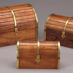 AA Importing - Barrel Top Wooden Boxes in Medium Brown Finis - Set of 3. Gold metal accents. Hinged lid that opens to storage. Set includes small, medium and large wooden boxes. Small: 6.5 in. L x 3 in. W x 4 in. H. Medium: 7.75 in. L x 4.75 in. W x 4.75 in. H. Large: 9 in. L x 6 in. W x 9 in. H