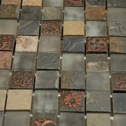 FUSION CHINKAPIN 1X1 MARBLE & GLASS TILES - This stunning combination of the multi-colored slate with the frosted glass tile and metallic etched decos give any room a rustic and contemporary ambiance. Add a pop to any room with these beautiful glass & stone tiles that are versatile; great to use for a backsplash for a kitchen or a fireplace.
