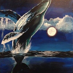"""Moonlight Dancer"" (Original) By J.A. Eise - I Took An Unusual Break From Abstract For This Painting.  I Loved The Image Of The Whale Leaping Out Of The Water Joyfully In The Moonlight.  It Was A Unique Experience For Me To Paint In This Style, But The Motion Of The Fins And The Arch Of The Whale Captivated Me."