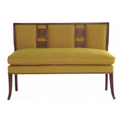 Eric Cohler Design Greek Key Settee - This great settee has classical lines that make it a great fit for a traditional space, yet the fun pop of color in the fabric makes it accessible for a more modern room. The detailing is spot on and could be easily complemented by any fun fabric.