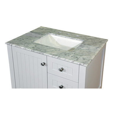 Bellaterra Home - 30-Inch White Carrara Marble Countertop with Rectanglar Sink - Transform your bathroom with Bellaterra's natural Carrera White Marble Vanity Top.