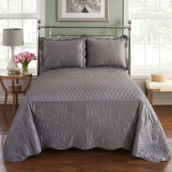 Pem America, Inc. - Parisian Bedspread in Slate - Dress your bed with the elegant and timeless Parisian Bedspread. The quilted bedspread instantly brings classic beauty to your bedroom with its tonal embroidery and matte satin fabric.