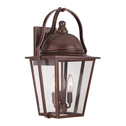 "Minka Lavery - Country - Cottage Riverdale Court 19"" High Bronze Outdoor Wall Light - A handsome architec bronze finish with bright copper highlights is paired with clear glass and durable aluminum construction for a classic look and feel that works with any home. This outdoor wall light looks great near garage doors entryways and porches. This design offers a warm soft glow so you can feel both safe and stylish. From the Minka Lavery Riverdale Court Collection. Architec bronze finish. Aluminum construction with cast elements. Clear glass. Copper highlights. Metal candle sleeves. Takes three 60 watt candelabra bulbs (not included). 19"" high. 10 1/2"" wide.  Architec bronze finish.  Aluminum construction with cast elements.  Clear glass.  Copper highlights.  Metal candle sleeves.  Takes three 60 watt candelabra bulbs (not included).  19"" high.  10 1/2"" wide."