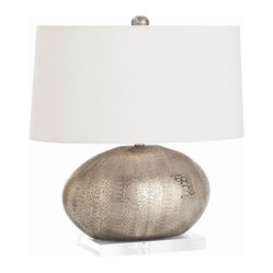 Arteriors - Winslow Lamp - No ordinary lamp, this luxe, egg-shaped version provides you with elegant illumination. It's made of porcelain with an intriguing, metallic silver finished that has the textural look of snakeskin. The lamp is mounted on a clear acrylic base and topped with an oval pewter shade with cotton lining to soften the light.