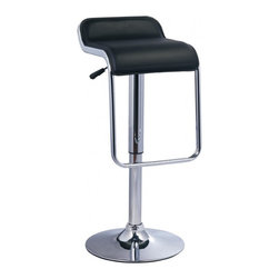 2 Curve Adjustable Bar Stool, Black - Whether in your business or household, the Curve Adjustable Bar Stool is stylistic as well as sleek to maximize usage while conserving space. With a base of just over 2 feet, this bar stool maximizes potential use while conserving surface area on the floor.