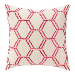 """Peking Handicraft - Bamboo Pink Embroidered Pillow - Bamboo motifs form the Cane throw pillow's lively hexagon pattern. Embroidered in hot pink, this geometric print lends bright color to modern interiors. 16""""W x 16""""H; 100% linen; Includes 95/5 feather down insert; Hidden zipper closure; Dry clean only"""