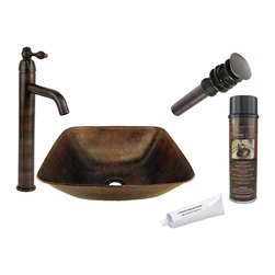 Premier Copper Products - Square Vessel Copper Sink w/ ORB Faucet - PACKAGE INCLUDES: