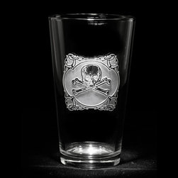 """Crystal Imagery, Inc. - Engraved Glasses, Skull and Cross Bones Set of Pint Glasses - Engraved skull and cross bones pub glass, pint beer glass is a fun badass gift! Deeply carved using our sand carving technique, each of our custom pint or pub glasses are meticulously custom made to order making them the perfect gift for those seeking unique gift ideas for beer lovers - men and women alike. At 5.75"""" high by 3.3"""" wide, our custom stemless wine glass holds 16 oz of your favorite wine in style. A custom engraved pint or pub glass will be the favorite gift at any special gift giving occasion. Personalized or monogrammed pint or pub glasses are a unique and special bridal shower gift, engagement gift, wedding gift or engagement gift. Also great gift idea for girlfriend or wife gifts, boyfriend or husband gifts, retirement gift or birthday for the classy man or woman who has everything. Dishwasher safe. Made in the USA. SOLD AS A SET OF 4 DRINKING GLASSES."""