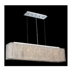 Elegant Lighting - Moda Clear Crystal Chandelier w 6 Lights in Chrome (Elegant Cut) - Choose Crystal: Elegant Cut. 6 ft. Chain/Wire Included. Bulbs not included. Crystal Color: Crystal (Clear). Chrome finish. Number of Bulbs: 6. Bulb Type: GU10. Bulb Wattage: 55. Max Wattage: 330. Voltage: 110V-125V. Assembly required. Meets UL & ULC Standards: Yes. 38 in. W x 9.5 in. D x 11 in. H (45lbs.)Description of Crystal trim:Royal Cut, a combination of high quality lead free machine cut and machine polished crystals & full-lead machined-cut crystals..SPECTRA Swarovski, this breed of crystal offers maximum optical quality and radiance. Machined cut and polished, a Swarovski technician¢s strict production demands are applied to this lead free, high quality crystal.Strass Swarovski is an exercise in technical perfection, Swarovski ELEMENTS crystal meets all standards of perfection. It is original, flawless and brilliant, possessing lead oxide in excess of 39%. Made in Austria, each facet is perfectly cut and polished by machine to maintain optical purity and consistency. An invisible coating is applied at the end of the process to make the crystal easier to clean. While available in clear it can be specially ordered in a variety of colors.Not all trims are available on all models.