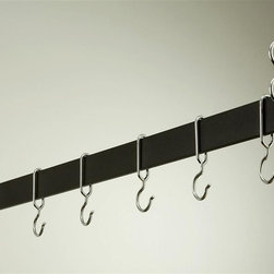 Rogar - Hanging Bar Rack in Black w Chrome (54 in.) - Choose Size: 54 in.Made of Steel. Black finish. Rack is perfect over a kitchen island. Puts cookware and utensils at hand. It 's available in four lengths and five finishes. Each rack comes w 2 pieces of 18 in. plated chain. Special design ensures hooks won't slide off bar. Powder coated Steel in 36 in., 42 in., 48 in. and 54 in. L. Includes 6 Chrome Hooks. 36 in. L x 2 in. H (10 lbs.). 42 in. L x 2 in. H (11 lbs.). 48 in. L x 2 in. H (12 lbs.). 54 in. L x 2 in. H (13 lbs.)