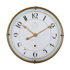 Uttermost - Uttermost Torriana Wall Clock 06091 - Antiqued, gold metal frame with an antiqued ivory face and a pale blue accent around inner edge. Quartz movement.