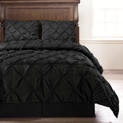 4 Piece Pinch Pleat Puckering Comforter Set by ExceptionalSheets - For those of you who are allergic to feathers but long for the warmth, style and coziness of down comforter, this comforter is for you. Elegant, Colorful, Comfy and AFFORDABLE. The Pinch Pleat Puckering Comforter is made from micro fiber and is as soft as goose down. It is treated with anti-microbial finish to repel dust mites and is ideal for allergy sufferers. Lastly, it is constructed using a box stitching design to avoid any shifting of the fill. Machine washable!
