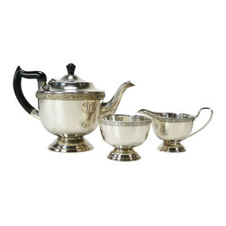 EPNS Made in Sheffield on base - Consigned Silver Plated Celtic Knot Tea Set, Vintage English, 1930s - Spectacular silver plated tea set with a teapot, creamer and sugar bowl decorated with bands of celtic knot and English rose; vintage English, 1930s.