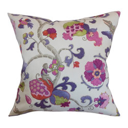 """The Pillow Collection - Majella Floral Pillow Purple Sage 18"""" x 18"""" - Vibrant floral pattern on a white background, makes this throw pillow a perfect indoor decor piece. This accent pillow provides a polished and chic look to your interiors. With shades of purple, lilac, pink and gray, this square pillow will instantly liven up your living room, bedroom, lounge area. Pair this decor pillow with other floral patterns for a garden-inspired theme. Made from 100% high-quality cotton material. Hidden zipper closure for easy cover removal.  Knife edge finish on all four sides.  Reversible pillow with the same fabric on the back side.  Spot cleaning suggested."""