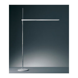 Artemide - Talak LED Floor Lamp - The Talak LED Floor Lamp features a base in painted iron, a stem in chromed polished steel and body in painted white thermoplastic resin.  The lamp rotates at 360 degrees on the horizontal plane and is adjustable in height.  Dimmer on body for LED version.  Also available in a fluorescent version.  Includes 80 LEDs totaling 8 watts.  54.75 inches high x 33.50 inches deep with 9 inch diameter base.  Direct adjustable light distribution.  UL listed.