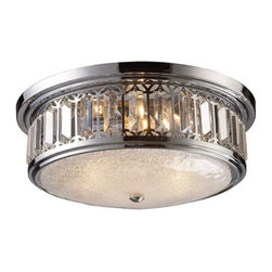 Elk Lighting - Elk Lighting 11227/3 Three Light Flushmount Ceiling Fixture from the Flushmount - Three light flushmount ceiling fixture from the flushmount collectionThe flush mounts collection exhibits the same beautiful detailing as a chandelier, but in a smaller size suitable for lower ceilings and smaller spaces.  Each item has an attractive banding on top with white satin glass and a decorative finial.  Choose from various styles and finishes to match your d�cor.Features :