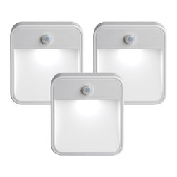 Mr Beams - Motion-Sensing Stick Anywhere Night Lights, Set of 3 - The MB720 from Mr. Beams is a battery-powered, wireless, motion-sensor LED night light. By simply inserting batteries you can attach each night light to any surface in a matter of minutes. The thin profile of the MB720 means you can mount it in a convenient location and it won't get in your way. A built-in photocell activates the motion sensor only after the sun has set or when the lights are out. Each night light instantly turns on when it detects motion within 15 feet and 180 degrees. The lights will remain on until 30 seconds after the last sensed motion. These are fantastic and bright stick anywhere LED light for hallways, stairways, steps, bathrooms, bedrooms, closets, garages, attics and basements. Mounting options include double sided tape or a mounting bracket that attaches with screws. The MB720 is available in a 3 or 6 pack.