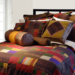 """Pointehaven - Luxury 12 Piece Bedding Set in Marrakesh - Features: -Available in Full, Queen, King and California King sizes. -Set includes 1 comforter, 2 shams, 1 bed skirt, 2 euro shams, 1 round pillow, 1 decorative pillow, 1 flat sheet, 1 fitted sheet and 2 standard pillowcase. -Marrakesh / Multi Patchwork pattern. -300 Thread Count. -Material: 100% cotton. -Luxury sizes for comfort and suitable for pillow top mattress. -Ensemble oversized pillows made of 100% cotton filled with 100% Polyester fibers. -Fitted sheet has elastic all around. -Sateen printed fabric. -Dimensions: 12""""-19"""" Height x 22"""" Width."""