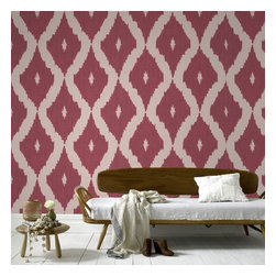 Graham & Brown - Kellys Ikat Wallpaper - A contemporary take on the Ikat design trend in carmine and taupe is inspired by Kelly_s love of Asian design culture and traditional fabric designs, this deep red wallpaper colourway will add some real drama to yuor walls and make a true impact. This geometric wallpaper design co ordinates with the Linen Texture semi plain and features shimmering highlights mixed with a matte fabric effect Ikat pattern that would add a real impact to your home or even workspace.