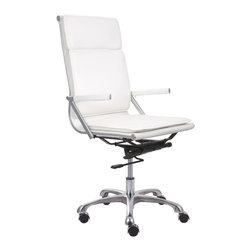 ZUO MODERN - Lider Plus High Back Office Chair White - With its ergonomic shape, padded back and seat cushions, the Lider Plus high back office chair works in comfort. It has a chromed steel frame with soft neoprene arm pads. DISCLAIMER: Zuo Modern Contemporary, Inc. is not affiliated with Herman Miller, Inc. and its products are not affiliated with Eames Aluminum Group or Softpad products.