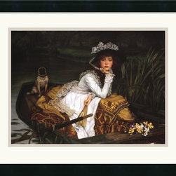 Amanti Art - Lady in a Boat Framed Print by James Tissot - An elegant young woman awaits departure in a rowboat with her favorite pet.This captivating piece will add charm and character to your surroundings.