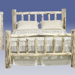 Montana Woodworks - Montana 3 Pc Log Bedroom Set (Queen in Unfini - Finish: Queen in UnfinishedIncludes log bed, chest and nightstand. Skip peeled by hand using old-fashioned draw knives for a one-of-a-kind look. Lodge pole pine accents. Heirloom quality design. Utilizes mortise and tenon joinery system. Bed features two log side rails per side increase the strength and rigidity. Chest features four spacious drawers. Easy glide drawer slides. Drawer pulls. Nightstand features one shelf and one drawer. 20 years limited warranty. Bed is made from solid American grown wood. Chest is made from solid U.S. grown pine. Nightstand is made from solid pine. Hand-crafted in the US, each Montana Woodwork product is made from unprocessed, solid wood that highlights the character of its source tree with unique knots and grains. Made in USA. Minimal assembly required. Twin Bed: 87 in. L x 46 in. W x 47 in. H. Full Bed: 87 in. L x 58 in. W x 47 in. H. Queen Bed: 94 in. L x 66 in. W x  47 in. H. Eastern King Bed: 94 in. L x 80 in. W x 47 in. H. California King Bed: 98 in. L x 76 in. W x 47 in. H. Drawers: 21.75 in. W x 16.38 in. D x 5.25 in. H. Chest: 33 in. W x 21 in. D x 45 in. H. Nightstand: 21 in. W x 21 in. D x 25 in. H