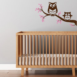 Owls on a Branch Nursery Decal