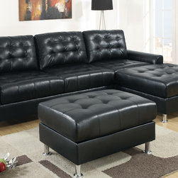 European Small Tufted Black Leather Sectional Sofa Reversible Chaise - A regal design of classic dimensions, this sectional upholstered in black bonded leather features tufting from backrest to seat cushions blending in with a modern décor. Its frame is supported by shiny silver legs with rounded flat ends.