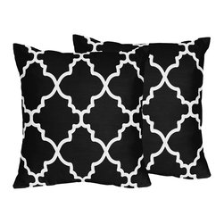 Sweet Jojo Designs - Sweet Jojo Designs Trellis Black and White Lattice Print Throw Pillows (Set of 2 - Update ordinary decor with throw pillows featuring a white lattice print on a black background. Covered in soft,brushed microfiber and filled with plush polyester,this pair of accent pillows infuses fresh style into any indoor space.