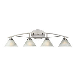Elk Lighting - Elk Lighting 17019/4 Elysburg Modern / Contemporary Bathroom / Vanity Light - The Geometric Lines Of This Collection Offer Harmonious Symmetry With A Sophisticated Contemporary Appeal.  A Perfect Complement For Kitchens, Billiard Parlors, Or Any Area That Requires Direct Lighting.  Featured In Satin Nickel With White Marbleized Glass Or Aged Bronze Finish With Tea Stained Brown Swirl Glass.