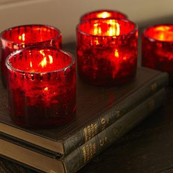"""Red Mercury Glass Votive Candle Cup - Vampires haunting Halloween night will appreciate the rich coloring of our votive cup, made of mercury glass for spooky sparkle. 3.5"""" diameter, 3"""" high Mold-shaped blown glass. Red mercury glass with an antiqued finish. Catalog / Internet only."""