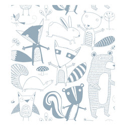 Loboloup - Friendly Forest, Gray, Sample - Loboloup wallpaper is hand-screened locally in the USA, and printed with eco-friendly, water-based inks on clay-coated paper. Our paper is vinyl-free and class A fire rated.