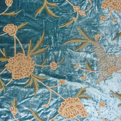 Crewel Fabric World by MDS - Crewel Fabric Leafy Vine Turquoise Cotton Viscose Velvet- Yardage - Artisans in a remote mountain village in Kashmir crewel stitch these blossoms, vines and leaves by hand, resulting in a lush pattern of richly shaded wool yarns on Linen, Cotton, Velvet and Silk.