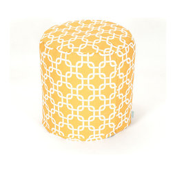 Majestic Home - Outdoor Yellow Links Small Pouf - A little pouf can go a long way in your home, serving in a pinch as a footrest, stool or impromptu side table. This cute and casual beanbag pouf is designed to be adaptable to your life; it's soft and easy to move around wherever it's needed, and the cover can be removed for cleaning up spills and smudges. It has a fresh, modern print to add some color to your space, and it's even safe for outdoor use.